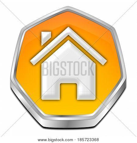 decorative orange Home Button - 3D illustration