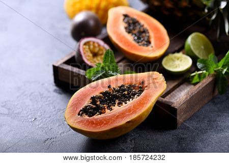 Papaya fruit sweet ripe fresh papaya raw vegan food
