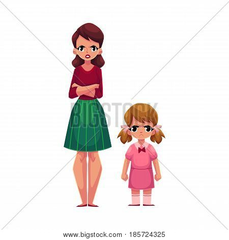 Young woman and little girl, mother and daughter standing with frowned, angry faces, cartoon vector illustration on white background. Frowning mother and daughter, elder and younger sisters standing
