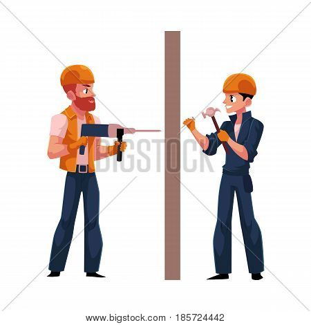 Two workers, builders in helmets and overalls drilling the wall, hammering nails, cartoon vector illustration isolated on white background. Construction workers, builders working on both sides of wall