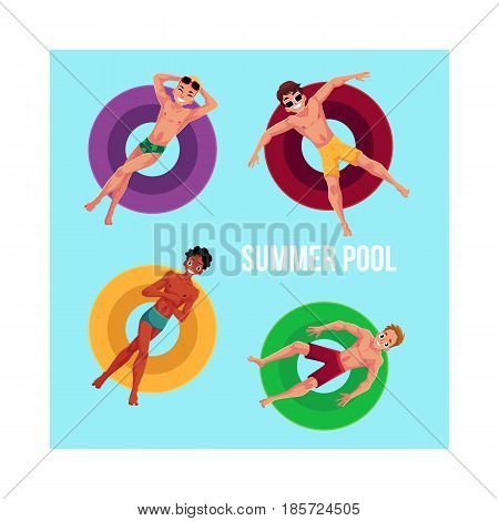 Banner, poster template with black and Caucasian young men floating on inflatable rings in swimming pool, top view cartoon vector illustration. Young men, boys swimming on inflatable rings in pool