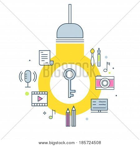 Intellectual Property Concept Illustration. Light Bulb, Key and Creative Work Products Icons. Vector Outline Design