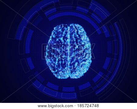 Artificial Intelligence, Blue Technology Background, Abstract Human Brain, Vector Illustration