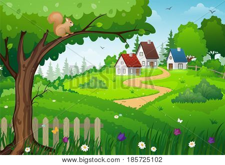 Rural houses in the midst of lush green meadows with tree and flowers