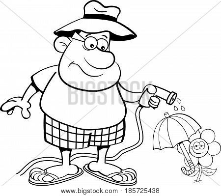 Black and white illustration of a man watering a flower with a garden hose.