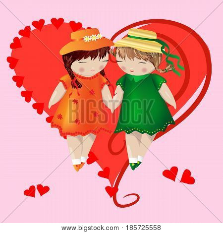 Two girls with pigtails in colored dresses and hats are holding hands, on a pink background in a frame in the shape of a heart. Lesbian couple, heart, love