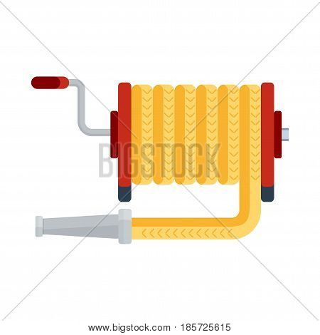 Fire hose icon. Fighting with fire and fire equipment. Flat vector cartoon illustration. Objects isolated on a white background.