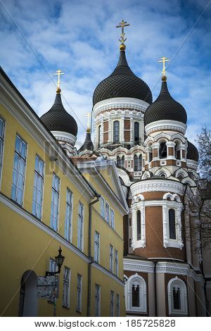 Tallinn orthodox cathedral in medieval old town