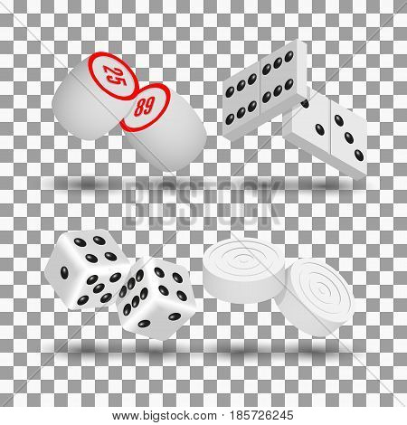 Realistic 3D game icons. Items to play dominoes dice checkers and lotto vector illustration.