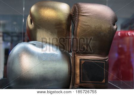 Golden, Silver And Bronze Leather Boxing Gloves