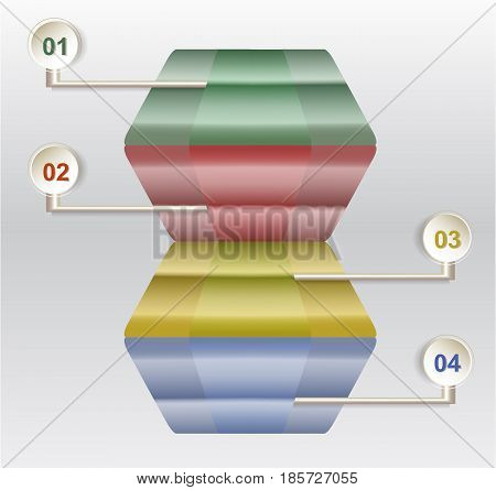 Infographics step by step template with abstract 3d stairs. Template for webdesign with abstract geometric shape