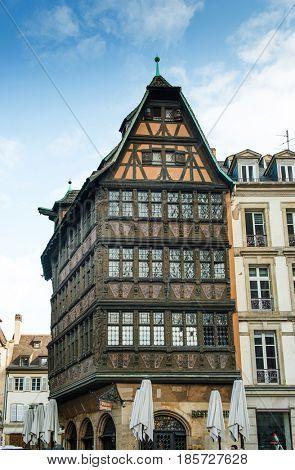 STRASBOURG, FRANCE - April 13, 2017: Maison Kammerzell restaurant - one of the oldest building in Strasbourg, France built around 1427