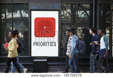 Priorities red analog alarm clock icon