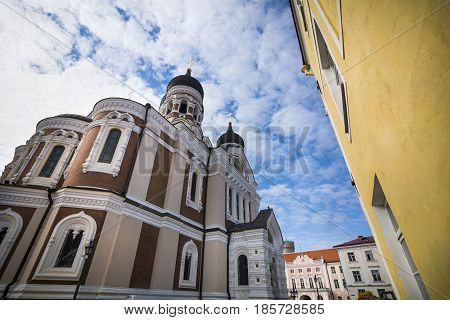 Alexander Nevsky cathedral and surrounding buildings in Tallinn old town