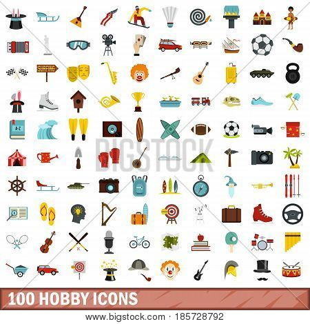 100 hobby icons set in flat style for any design vector illustration