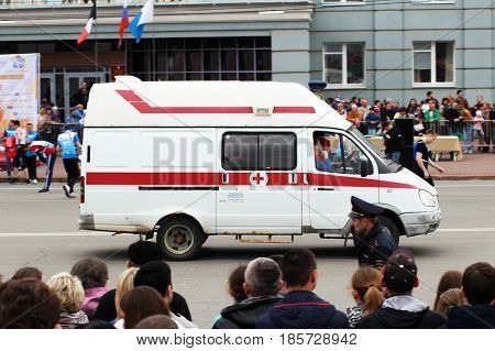 IZHEVSK, RUSSIA - May 9 2017. Ambulance car relay help. Holiday is the day of victory Outdoors