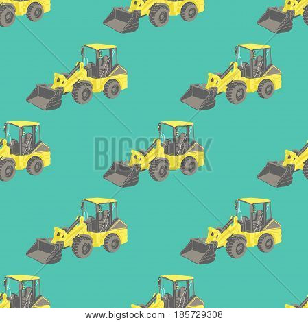 Seamless pattern with yellow tractor. Under construction. Baby toys pattern. Cartoon car.
