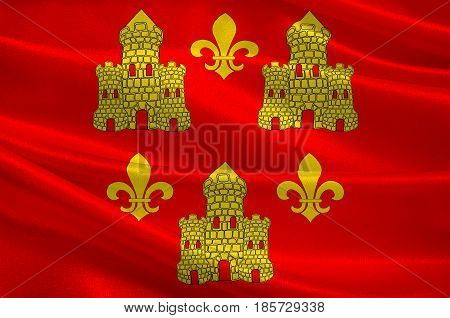 Flag of Chinon is a commune located in the Indre-et-Loire department in the Region Centre France. 3D illustration