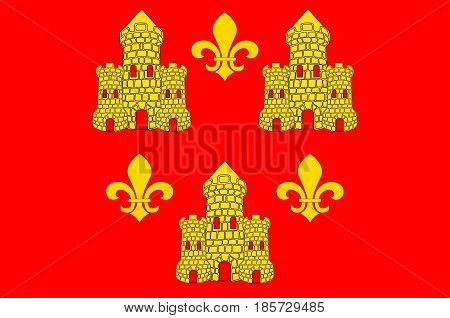 Flag of Chinon is a commune located in the Indre-et-Loire department in the Region Centre France. Vector illustration