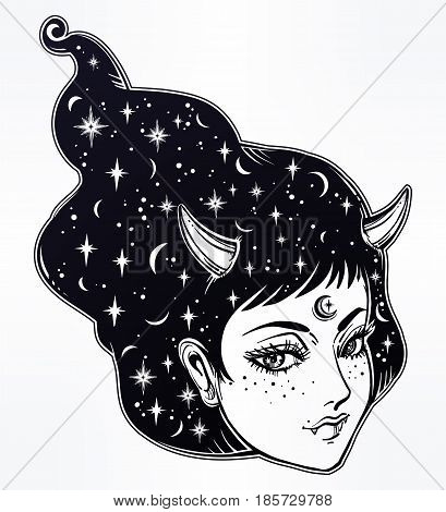 Beautiful anime or retro manga style poster of a yokai - demon spirit woman in Asian folklore. with horns and starry hair. Magic, fantasy, tattoo art, coloring books. Isolated vector illustration.