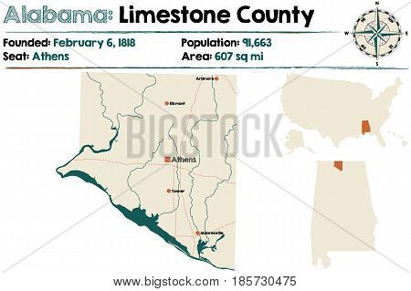 Large and detailed map of Limestone County in Alabama.