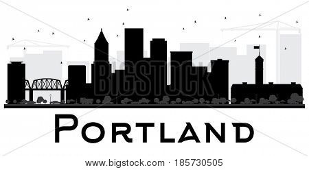 Portland City skyline black and white silhouette. Simple flat concept for tourism presentation, banner, placard or web site. Cityscape with landmarks.