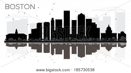Boston City skyline black and white silhouette with reflections. Simple flat concept for tourism presentation, banner, placard or web site. Cityscape with landmarks.