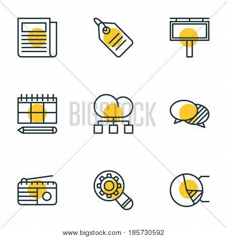 Vector Illustration Of 9 Social Icons. Editable Pack Of Circle Diagram, Schedule, Fm Broadcasting And Other Elements.