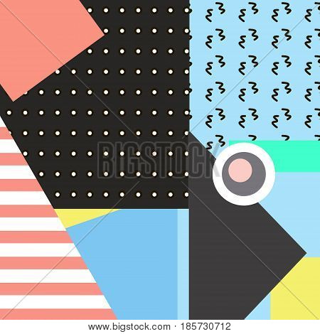 Trendy geometric elements memphis cards. Retro style texture, pattern and geometric elements. Modern abstract design poster, cover