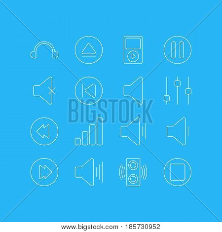 Vector Illustration Of 16 Melody Icons. Editable Pack Of Advanced, Reversing, Acoustic And Other Elements.