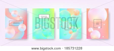 Abstract vector backgrounds in trendy hipster style with blurry fluid 3d shapes and elements of memphis style. Template A4 for design poster, banner, flyer, cover, placard, magazine, book