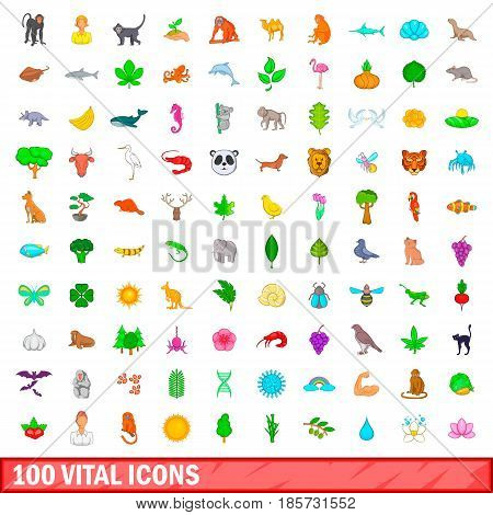100 vital icons set in cartoon style for any design vector illustration
