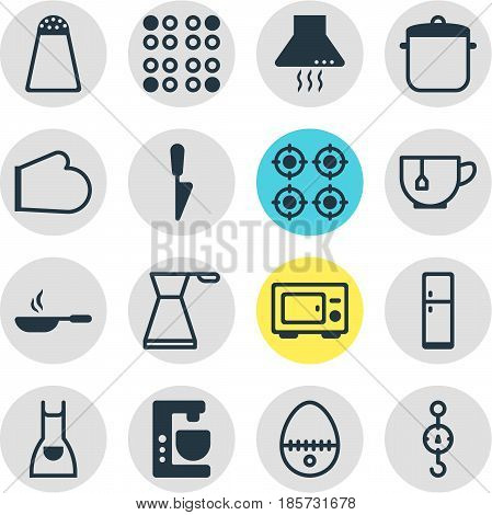 Vector Illustration Of 16 Kitchenware Icons. Editable Pack Of Kitchen Dagger, Pepper Container, Extractor Appliance And Other Elements.