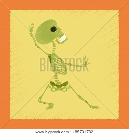 flat shading style icon of skeleton Halloween monster
