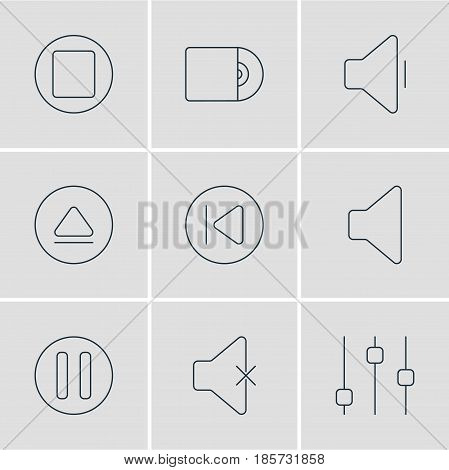 Vector Illustration Of 9 Music Icons. Editable Pack Of Stabilizer, Rewind, Soundless And Other Elements.