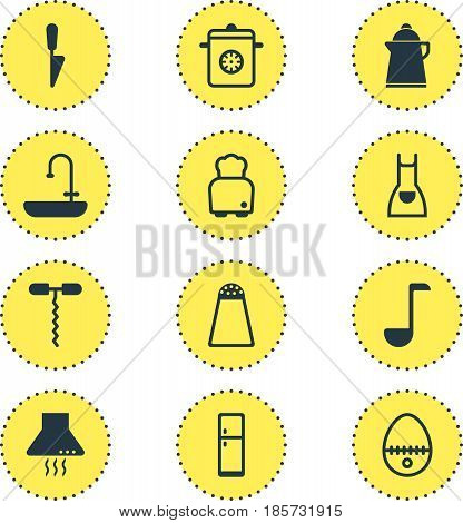 Vector Illustration Of 12 Restaurant Icons. Editable Pack Of Bread, Extractor Appliance, Pepper Container And Other Elements.