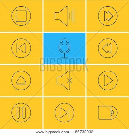 Vector Illustration Of 12 Music Icons. Editable Pack Of Volume Up, Subsequent, Rewind And Other Elements.