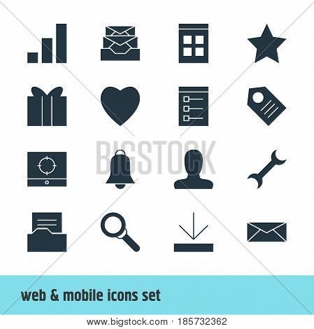Vector Illustration Of 16 Web Icons. Editable Pack Of Account, Target Scope, Document Directory And Other Elements.