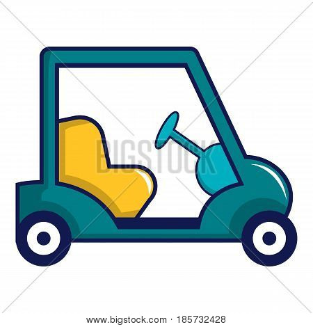 Blue golf cart icon. Cartoon illustration of blue golf cart vector icon for web