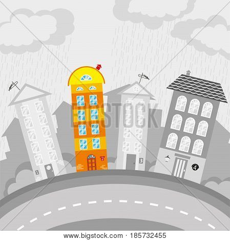 Children cityscape street with colorful and gray houses. Vector illustration.