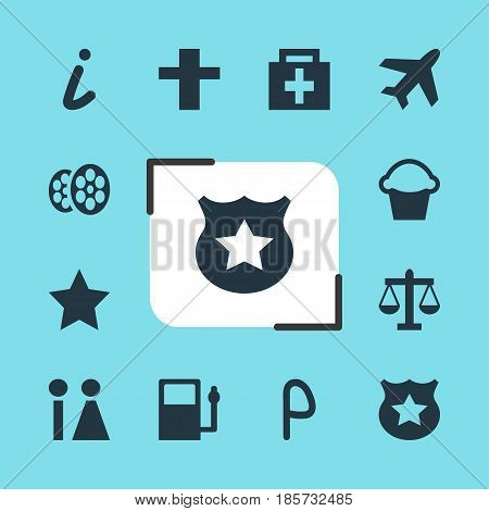 Vector Illustration Of 12 Travel Icons. Editable Pack Of Cross, Scales, Map Information And Other Elements.
