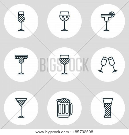 Vector Illustration Of 9 Drinks Icons. Editable Pack Of Goblet, Celebrate, Cocktail And Other Elements.
