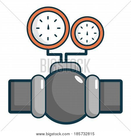 Gauges on pipeline icon. Cartoon illustration of gauges on pipeline vector icon for web