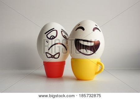 Eggs Face. Cheerful Breakfast Company. Photo For Your Design