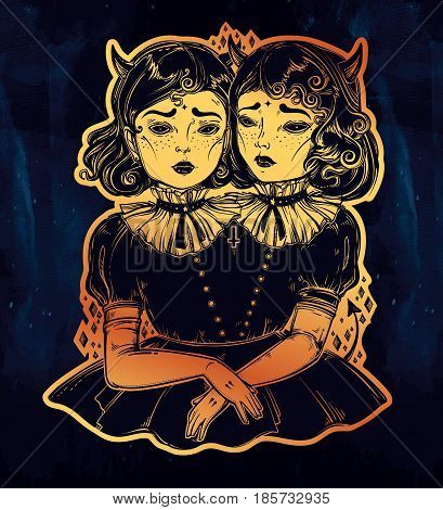 Evil siamese twins. Female demon portriats. Beautiful victorian monster girls in vintage style. For t-shirt design or post card. Fashion sketch vector illustration. Weird gothic art. Halloween.