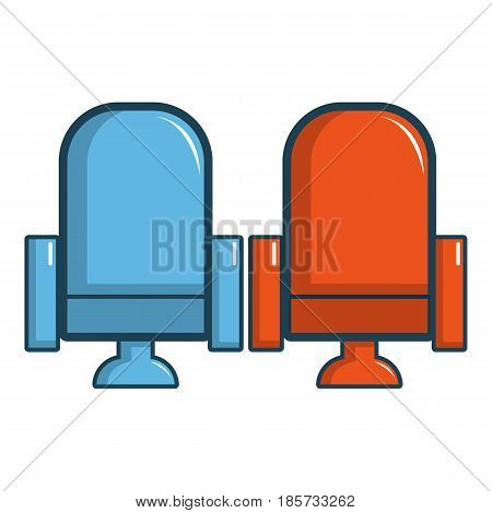 Red and blue cinema armchairs icon. Cartoon illustration of red and blue cinema armchairs vector icon for web