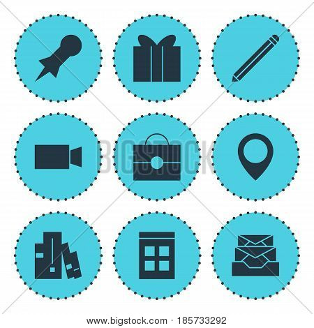 Vector Illustration Of 9 Web Icons. Editable Pack Of Date Time, Map Pointer, Bookshelf And Other Elements.