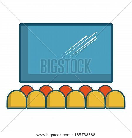 Cinema auditorium with screen and seats icon. Cartoon illustration of cinema auditorium with screen and seats vector icon for web