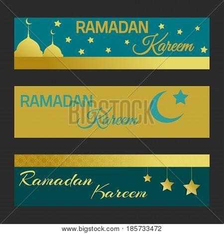 Ramadan Kareem set web bannes. Vector illustration.