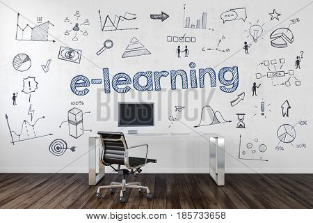 E-LEARNING | Desk in an office with symbols. 3d Rendering.